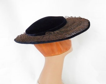 1950s woman's hat, vintage navy blue velvet, lace, wide brim