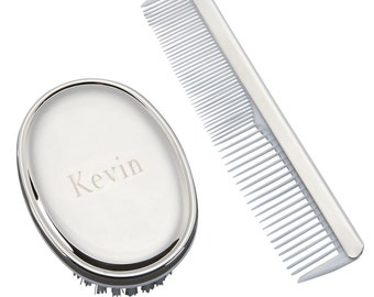 Hair Brush,  Baby Brush, Boys Comb and Brush Set for Baby, Free Engraving