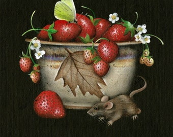 "8"" X 8"" Strawberries Pottery Mouse Butterfly Original Acrylic Painting  Small Format"