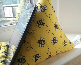 Handmade tablet ebook cell phone ipad cushion for any small to medium size electronic device bright yellow bumble bee pattern