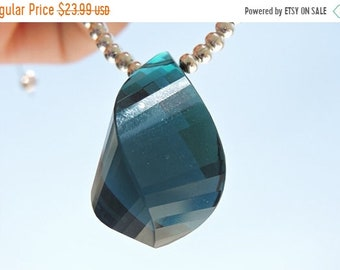 25% OFF Summer Sale 1 Piece AAA Teal Blue Quartz Faceted Twisted Drop Focal Briolette Size 31*23 MM