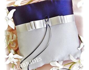 Weddings ring bearer pillow, navy blue and silver grey wedding pillow. Navy and grey ring cushion.