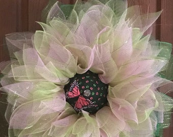 "Spring deco mesh wreath springtime wreath 12"" wire wreath when complete (20""x20"")"