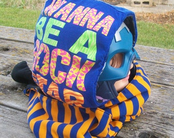 Upcycled I Wanna Be a Rock Star Shirt Skulls Fleece Hooded Scarf Hoodie OOAK Ready to Ship