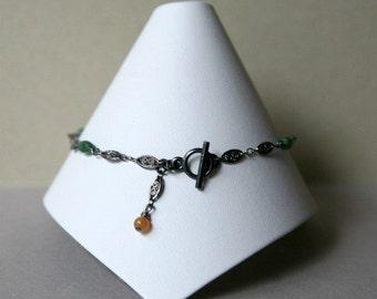Green Jade and Gunmetal Ankle Bracelet, Ankle Bracelet, Green Anklet, Summer Jewelry, Ankle Jewelry