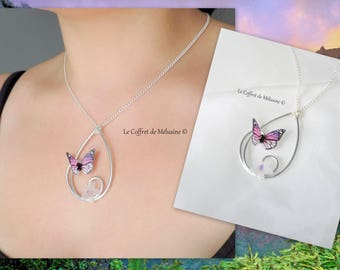 "Purple and light pink butterfly ""Emya"" necklace"