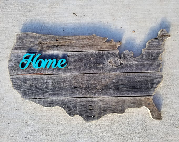 "Wooden USA ""Home"" Sign, Reclaimed Wood, Handmade, United States Wood Sign"