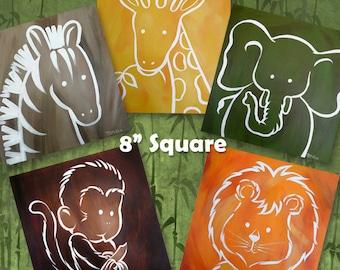 Zoo Safari Jungle Animals Digital Download Art - NEW - 8 in x 8 in size -