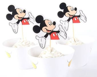 Mickey Mouse or Emoji cupcake topper and  wrapper set of 24.