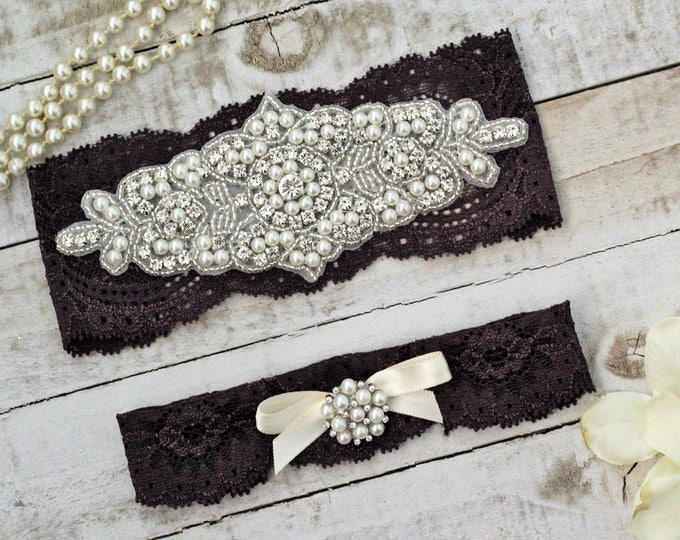 Plum Bridal Garters, purple wedding garters, Set NO SLIP grip, pearl lace rhinestone, purple garter, PLUM G08S-G*32