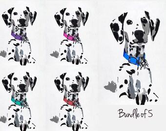 Pack of 5 Dalmatian Digital Download, Downloadable Art, Nursery Art, Dog art, modern art, dalmatian art, dog lover, spotted dog art