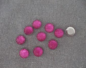 Round cabochons 10 mm pink acrylic rhinestones