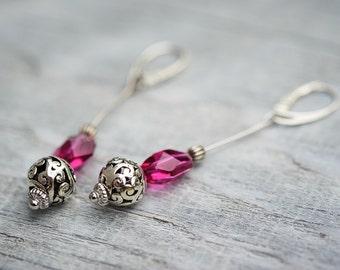 Long Pink Crystal Earrings, Pink Dangle Earrings, Swarovski Jewelry, OOAK Earrings, Leverback Earrings, Summer Style Earrings
