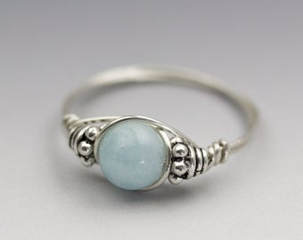 Light Blue Aquamarine Bali Sterling Silver Wire Wrapped Gemstone Bead Ring - Made to Order, Ships Fast!