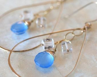Hoop Earrings, Chalcedony Earrings, Crystal Earrings, Blue Stone Earrings, Blue Hoop Earrings, Something Blue, Blue Chalcedony Earrings,