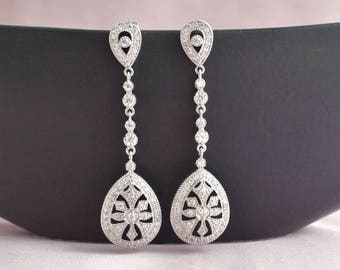 Art deco chandelier earrings, long bridal earrings, vintage bridal earrings, wedding jewelry