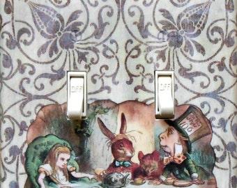 10 styles Mad Tea Party & MATCHING SCREWS Alice in Wonderland double switch plate Alice in Wonderland art Alice nursery art Alice wall decor