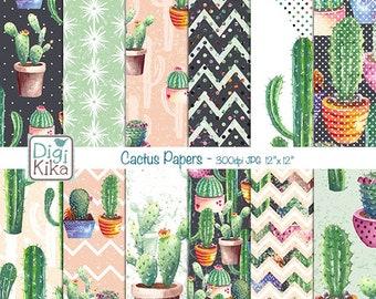 Cactus Digital Papers, Succulent Scrapbook Paper, Mint Cactus Papers, Succulent Pot Background, Watercolor, Planner Stickers