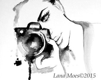 Camera Girl Fashion Watercolor Painting, Contemporary Modern Art Illustration by Lana Moes, Modern wall home decor, Office Decor for Her