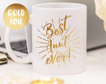 Aunt mug, gold foil mug customized gift for your aunt