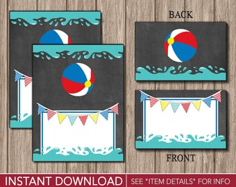Beach Ball Tent Cards - Pool Party Buffet Cards - Food Labels - Place Cards - Printable Digital File - INSTANT DOWNLOAD