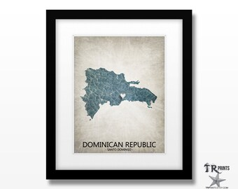 Dominican Republic Map Print - Home Is Where The Heart Is Love Map - Original Personalized Map Print in Multiple Sizes