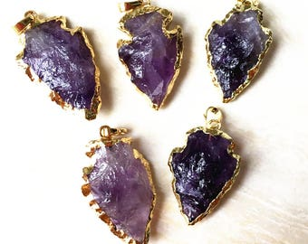 Natural Dark Amethyst Arrowhead Pendant Charm with 24k Gold Electroplated Layered Edge - BULK LOTS OF 1, 3, 5, 10 (B8I90)