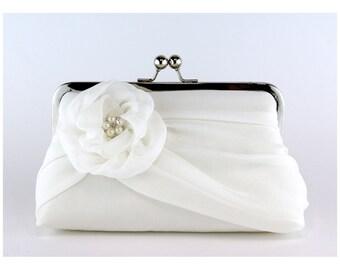 Bridal clutch, Silk Chiffon Clutch with Pearls,  Wedding purse, Wedding clutch