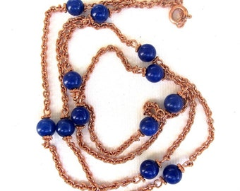Cobalt blue quartz gemstones - LONG necklace - 36 inches - copper chain - can be worn double as a short necklace OOAK
