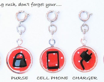 Magnetic Charms for Charm Bracelet Morning Checklist RED POLKA DOTS