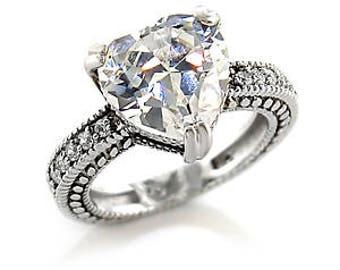 Ring - ref7x006 - rhodium - sets of white cz