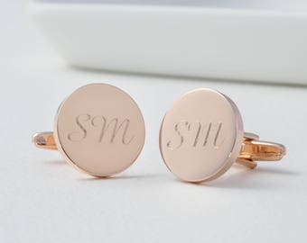 Personalized Rose Gold Round Monogram Cufflinks - Wedding Cufflinks, Initials Cufflinks, Personalized Monogrammed Cufflinks, Groomsman Gift