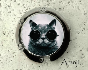Cool cat purse hanger, tabletop purse hanger, purse hanger, purse hook, cat purse hook, cat purse hanger, AN114PH