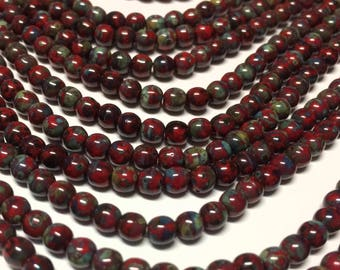 50 - Czech Glass 4mm Smooth Round Druks - Bohemian Spacer Beads / Boho Accent Beads / Rustic Jewelry Supply - Opaque Red Picasso