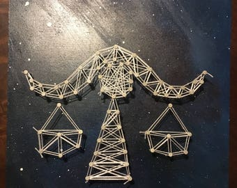 Libra Wood Panel Painting and String Art
