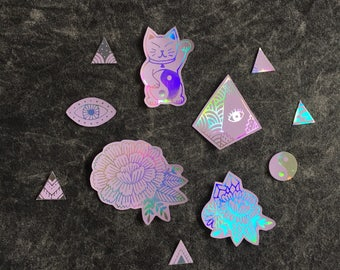 Lilac Holographic Stickers