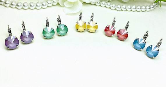 Swarovski Crystal 12MM Drop Earrings - Newest Summery Jewel Tones - Choose Your Favorite Color and Finish -  FREE SHIPPING