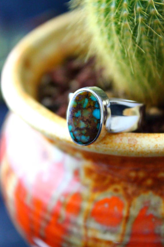 Sale! Turquoise Mountain Turquoise with Sterling Silver Cast Band//Size 7