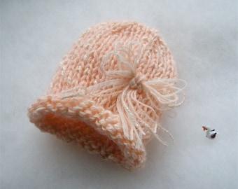 Mohair newborn hat photo prop  Baby hat Photography prop Pink Newborn girl mohair hat Photo prop Baptism hat baby gift