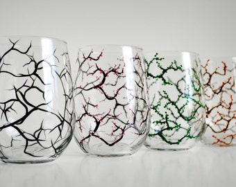 The Four Seasons Stemless Glasses - Set of 4 Hand Painted Stemless Wine Glasses