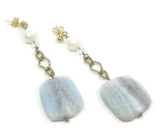 Sale| Blue Lace Agate Post Earringse - Blue Lace Agate Flat Slab Dangle Earrings - Lace Agate & Faceted Pearl Earrings