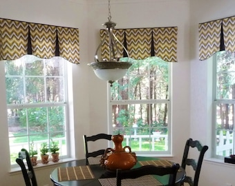 "Custom Window Valance EMILEE Hidden Rod Pocket® Valance to fit 45""- 60"" window, Your fabrics, my LABOR and lining"
