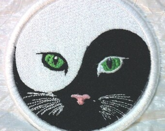 Yin and Yang of Meow - Cats & Kitties #2 Embroidered Iron on Applique - Patch