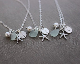 Sterling Silver Starfish necklace set, Personalized Charm Necklaces with genuine Sea glass, pearl and Initial Charm Wedding Bridesmaid Set