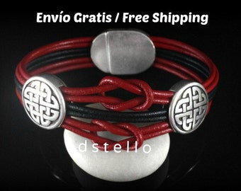 Fathers day gifts, Celtic bracelet, Celtic leather bracelet, Infinity, Endless knot, Anniversary gifts, Celtic jewelry, Men, Women, magnetic