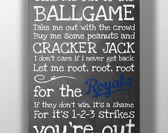 Kansas City Royals- Take Me Out to the Ballgame Chalkboard Print