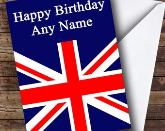Union Jack British Flag Personalised Birthday Card