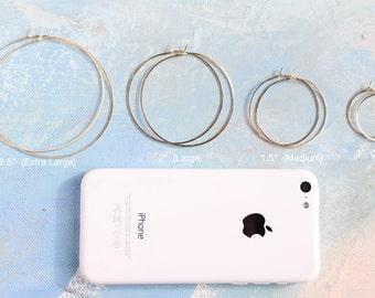 Gold Hoop Earrings - Thin Hoop Earrings, Choose your favorite size of  thin gold hoop earings, gold earrings, large gold hoops