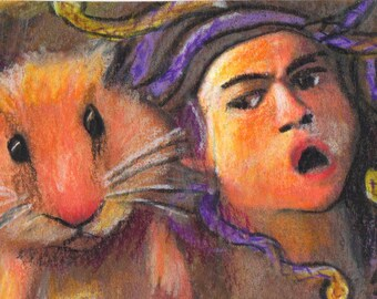 original art aceo drawing medusa and a hamster