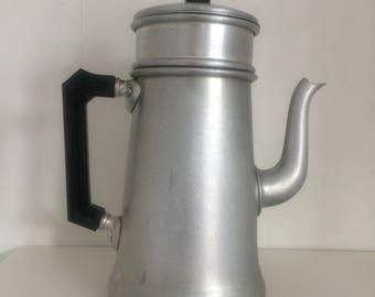 French Vintage aluminium Coffee Pot Cafetière with Bakelite handle